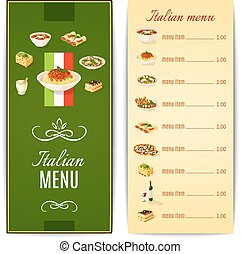 Italian Food Menu - Italian restaurant menu template with...