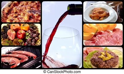 Food and drink montage including diverse recipes of italian cuisine.