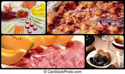 italian food montage - Food and drink montage including...