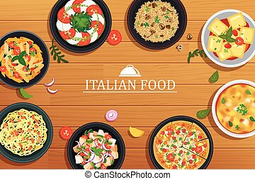 Italian food on a wooden table background. Vector illustration top view.