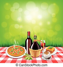 italian food on checkered tablecloth table and green...