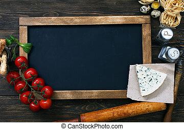 Italian food on vintage wood background