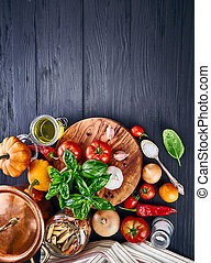 Italian food pasta top view basil tomato
