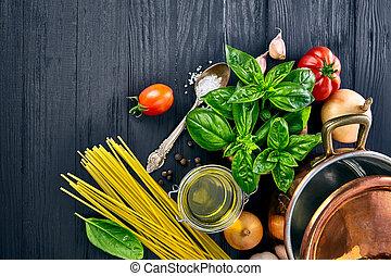 Italian food pasta with basil