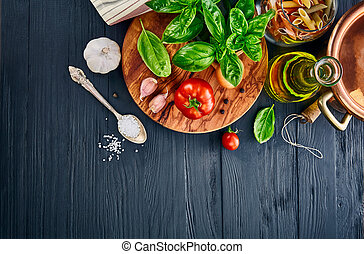 Italian food pasta with basil