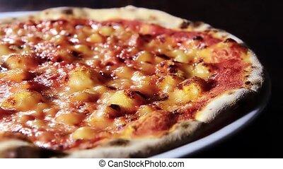 Italian food, pizza with tomato and mozzarella