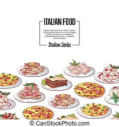 Italian food poster with national cuisine dishes