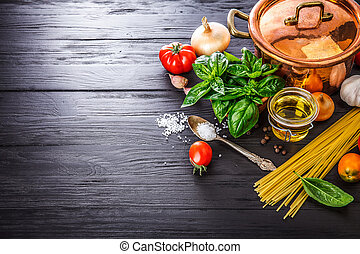 Italian food preparation pasta on wooden board