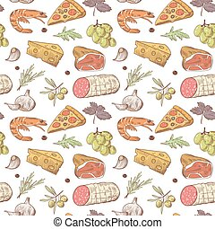 Italian Food Seamless Pattern. Hand Drawn Traditional Italy Dishes Background with Pizza, Cheese and Grape. Vector illustration