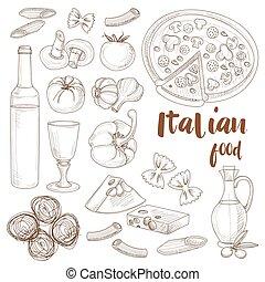Italian food set - Hand drawn sketch Italian food set with...