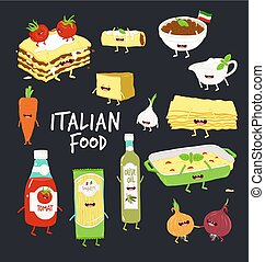 Italian food set. Lasagna and flavouring. Black background. ...