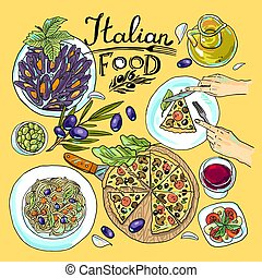 italian food- set of food color hand-draw illustration