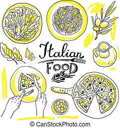 italian food- set of food hand-draw illustration