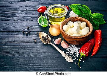 Italian food still life with cheese mozzarella