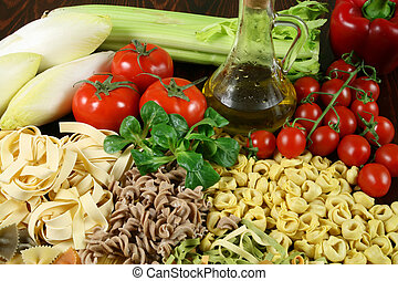 Italian food - Various types of pasta and vegetables. ...