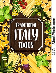 Italian food with pasta, tomato and herbs - Italian pasta...