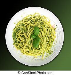 Italian food:linguine with pesto sauce