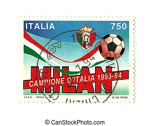italian football, celebratory post stamp, Milan champion 1994