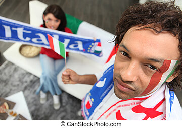 Italian football fans at home