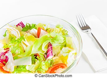 Italian fresh salad near a fork