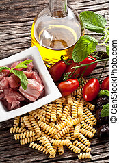 Italian Fusilli pasta with swordfish ingredients