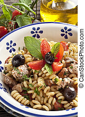 Italian Fusilli pasta with swordfish