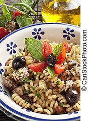 Italian Fusilli pasta with swordfish