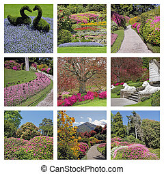 Italian gardens  on lake Como in spring -  collage