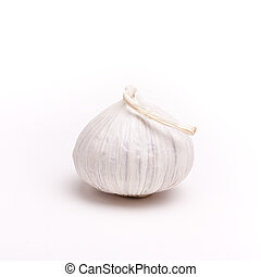 Italian Garlic - Small italian garlic bulbs isolated against...