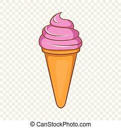 Italian gelato ice cream icon, cartoon style