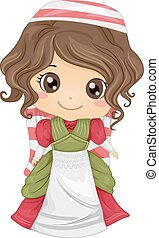 Italian Girl - Illustration Featuring a Girl Wearing an...
