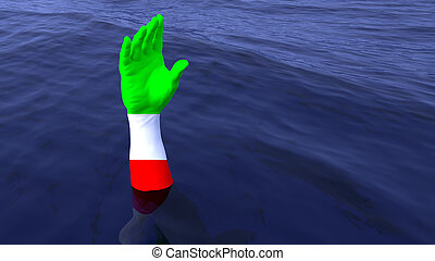 Italian hand reaching out of the ocean for help