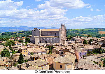 View over the Italian hill town, Orvieto and its cathedral
