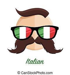 Italian hipster Glasses, Moustache