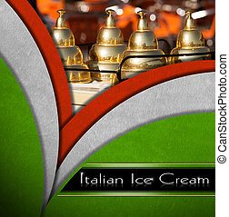 Italian Ice Cream - Background with italian flags and a...