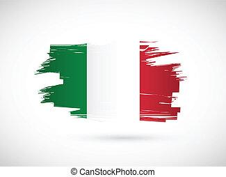 Italian ink brush flag illustration