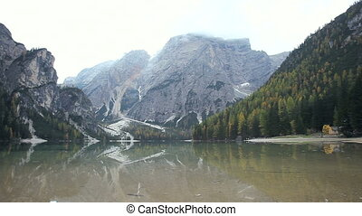 Italian lake in mountain - Lake of Braies Italy in middle of...