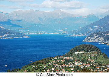 View of coastline of Como Lake, Italy