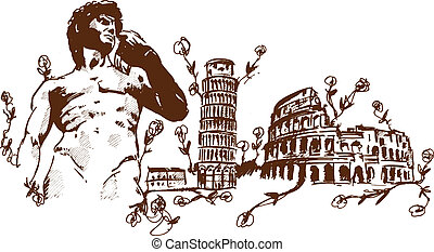 Italian Landmarks illustration including Pisa the rome...