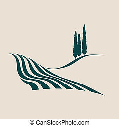 italian landscape - stylized vector illustration of a...