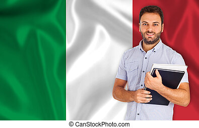 Italian language - Young smiling student learns the italian...