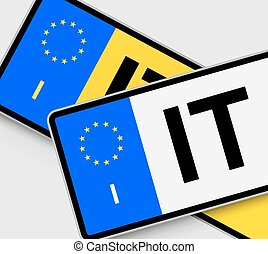 Italian Licence Plates - Front and rear Italian vehicle...