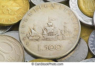 Italian lira coin close up