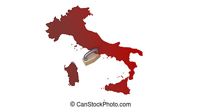 Italian lockdown isolated on white background