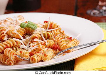 rotini pasta and pesto