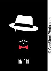 Italian Mafia man. Gangster emblem. Person in fedora hat and...