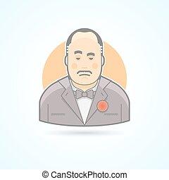 Italian mafiosi, criminal leader, Don Corleone icon. Avatar...