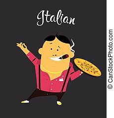 Italian man cartoon character, citizen of the Italy with cigar and pizza