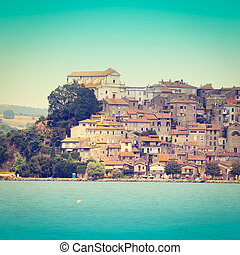 Medieval Town - Italian Medieval Town on the Coast of a Lake...