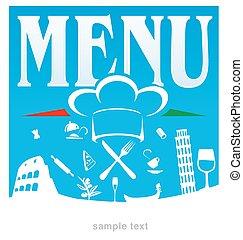 italian menu blue